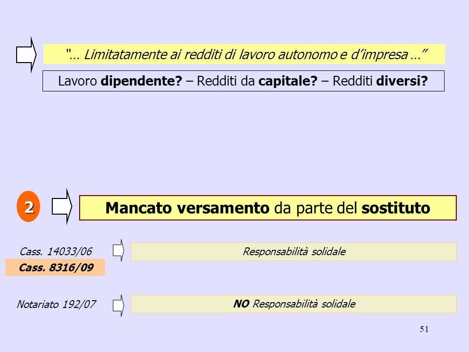 51 Mancato versamento da parte del sostituto 2 Responsabilità solidale Cass. 14033/06 NO Responsabilità solidale Notariato 192/07 … Limitatamente ai r