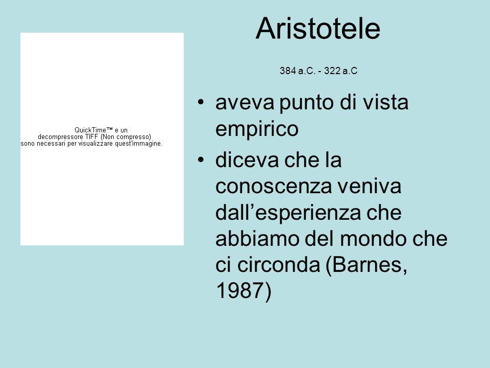 Aristotele 384 a.C. - 322 a.C aveva punto di vista empirico diceva che la conoscenza veniva dallesperienza che abbiamo del mondo che ci circonda (Barn