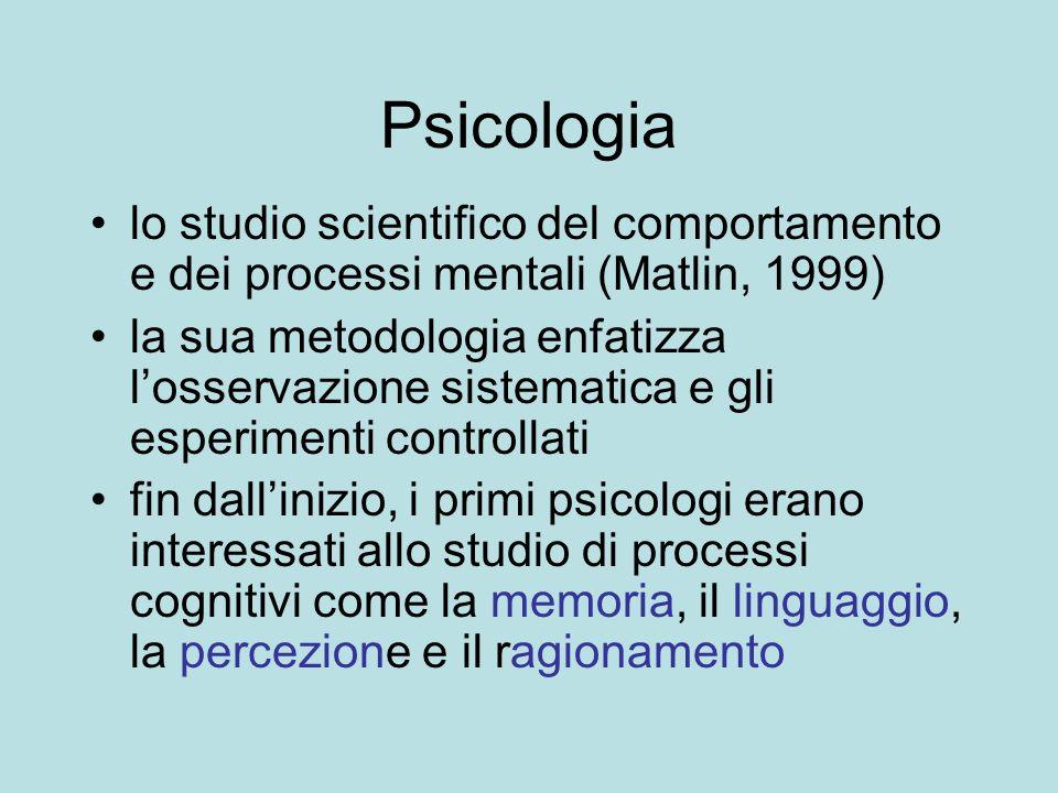 Psicologia lo studio scientifico del comportamento e dei processi mentali (Matlin, 1999) la sua metodologia enfatizza losservazione sistematica e gli