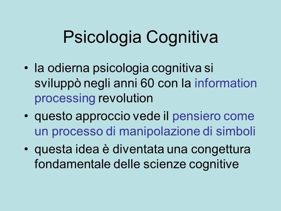 Psicologia Cognitiva la odierna psicologia cognitiva si sviluppò negli anni 60 con la information processing revolution questo approccio vede il pensi