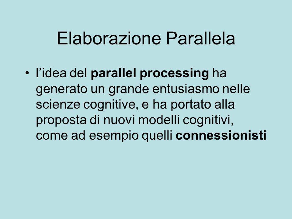 Elaborazione Parallela lidea del parallel processing ha generato un grande entusiasmo nelle scienze cognitive, e ha portato alla proposta di nuovi mod
