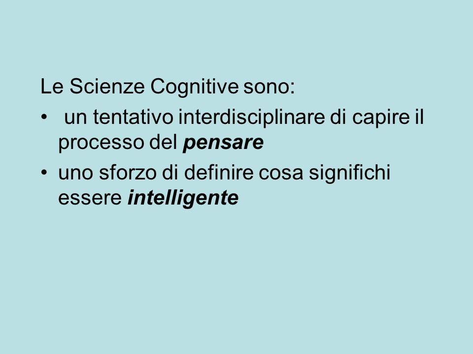 Le scienze cognitive sono un campo di studio interdisciplinare scienziati di diverse discipline condividono informazione e metodi nello sforzo di arrivare ad un quadro completo sul come funziona la mente Abbiamo detto che le discipline più coinvolte sono cinque