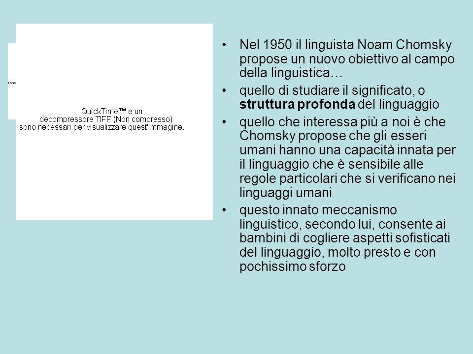 Nel 1950 il linguista Noam Chomsky propose un nuovo obiettivo al campo della linguistica… quello di studiare il significato, o struttura profonda del