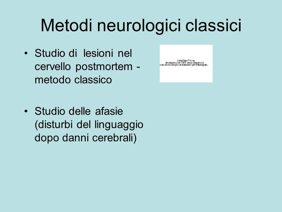 Metodi neurologici classici Studio di lesioni nel cervello postmortem - metodo classico Studio delle afasie (disturbi del linguaggio dopo danni cerebr