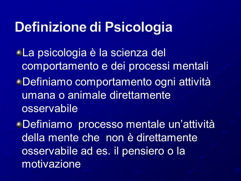 La psicologia è la scienza del comportamento e dei processi mentali Definiamo comportamento ogni attività umana o animale direttamente osservabile Def
