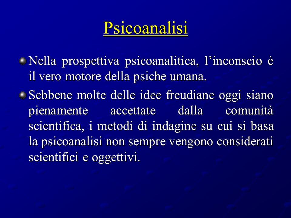 Psicoanalisi Nella prospettiva psicoanalitica, linconscio è il vero motore della psiche umana. Sebbene molte delle idee freudiane oggi siano pienament