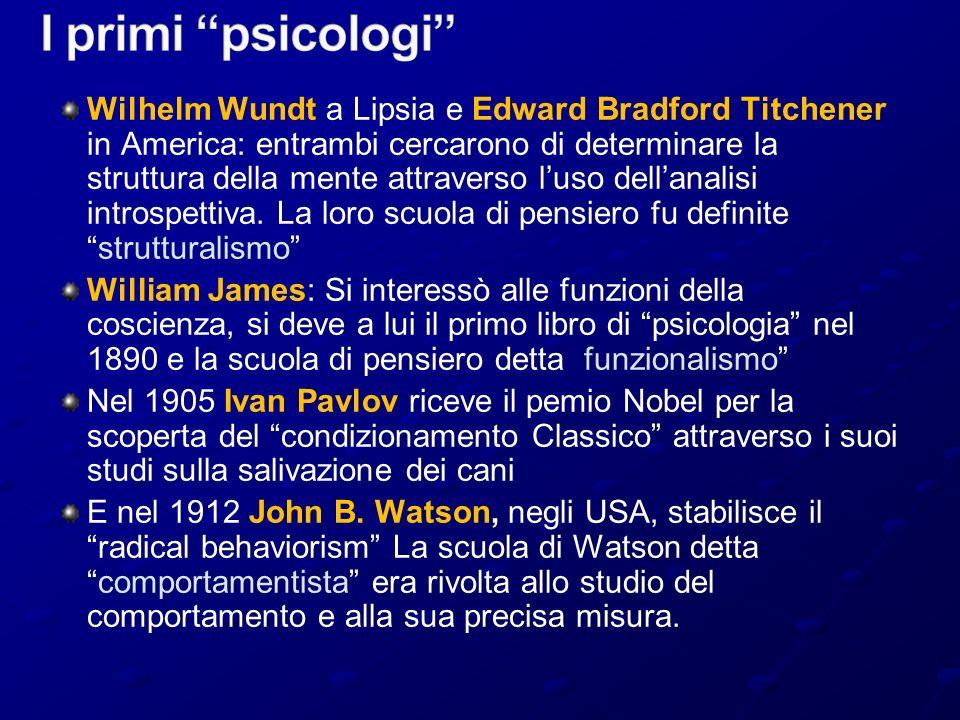 Wilhelm Wundt a Lipsia e Edward Bradford Titchener in America: entrambi cercarono di determinare la struttura della mente attraverso luso dellanalisi