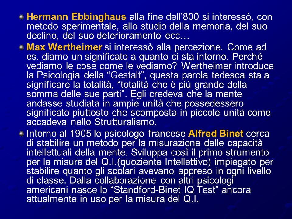 Hermann Ebbinghaus alla fine dell800 si interessò, con metodo sperimentale, allo studio della memoria, del suo declino, del suo deterioramento ecc… Ma