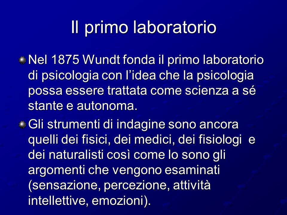 Il primo laboratorio Nel 1875 Wundt fonda il primo laboratorio di psicologia con lidea che la psicologia possa essere trattata come scienza a sé stant