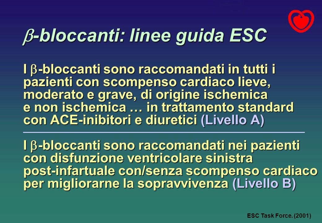-bloccanti: linee guida ESC -bloccanti: linee guida ESC I -bloccanti sono raccomandati in tutti i pazienti con scompenso cardiaco lieve, moderato e gr
