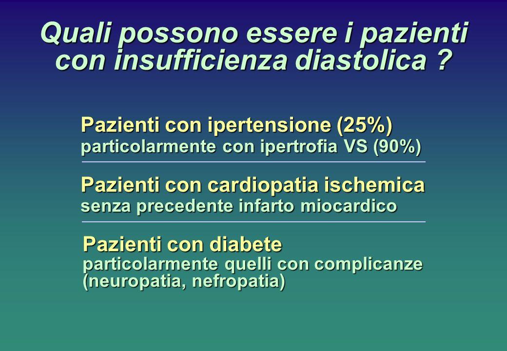 Quali possono essere i pazienti con insufficienza diastolica ? Pazienti con ipertensione (25%) particolarmente con ipertrofia VS (90%) Pazienti con ca