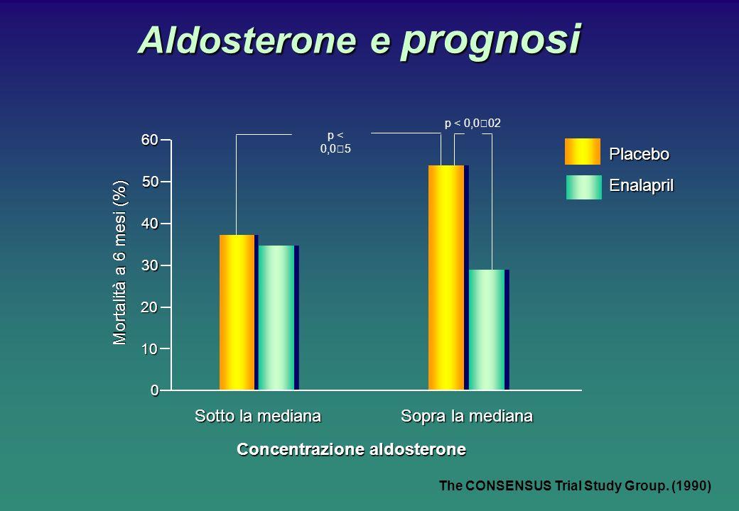 60 50 40 30 20 10 0 p < 0,05 p < 0,002 Mortalità a 6 mesi (%) Sotto la mediana Sopra la mediana Concentrazione aldosterone PlaceboEnalapril Aldosterone e prognosi The CONSENSUS Trial Study Group.