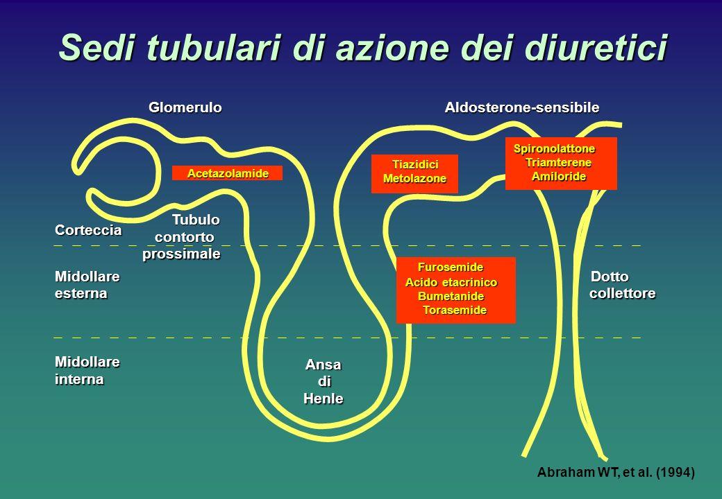 Sedi tubulari di azione dei diuretici Tubulo contorto prossimale Ansa di Henle Dotto collettore Corteccia Midollare esterna Midollare internaAldosterone-sensibileGlomeruloAcetazolamide Tiazidici Metolazone Abraham WT, et al.