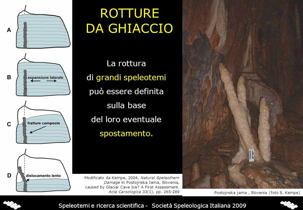 La rottura di grandi speleotemi può essere definita sulla base del loro eventuale spostamento. Postojnska jama, Slovenia (foto S. Kempe) ROTTURE DA GH