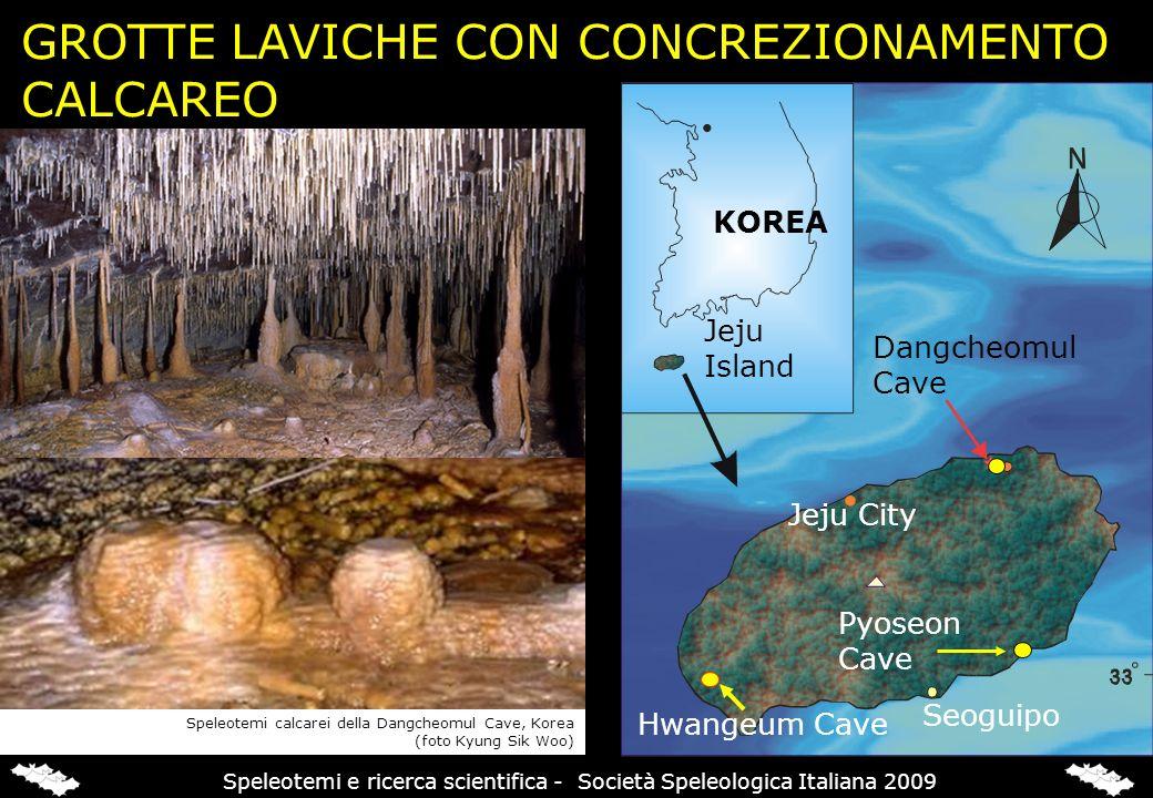 GROTTE LAVICHE CON CONCREZIONAMENTO CALCAREO KOREA Dangcheomul Cave Pyoseon Cave Jeju Island Jeju City Seoguipo Hwangeum Cave Speleotemi calcarei dell