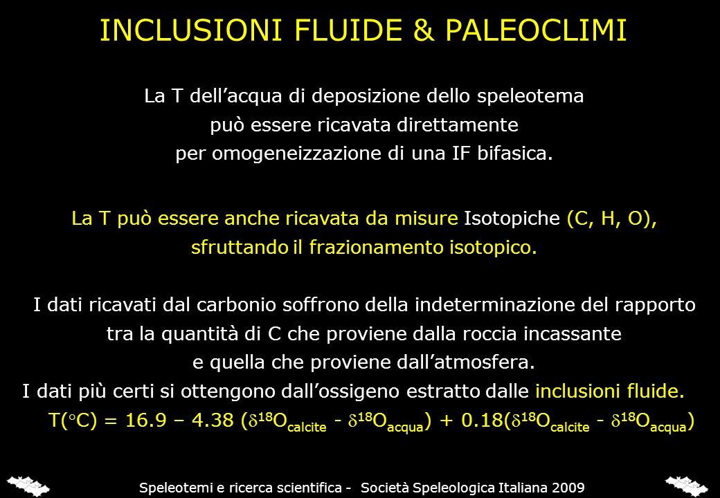 INCLUSIONI FLUIDE & PALEOCLIMI La T può essere anche ricavata da misure Isotopiche (C, H, O), sfruttando il frazionamento isotopico. I dati ricavati d