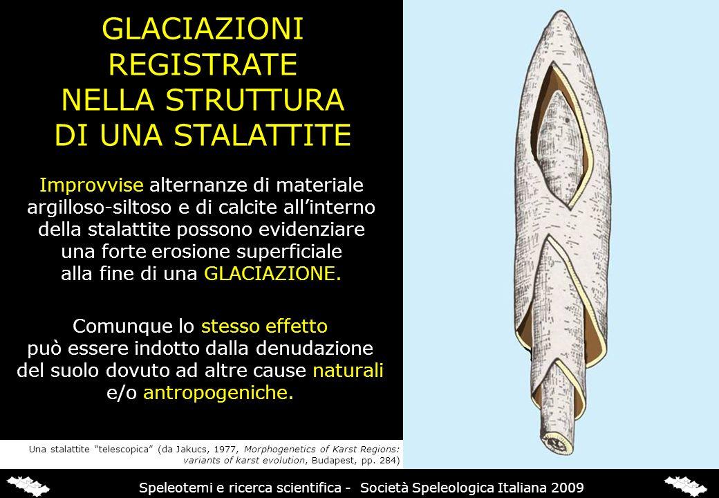 GLACIAZIONI REGISTRATE NELLA STRUTTURA DI UNA STALATTITE Improvvise alternanze di materiale argilloso-siltoso e di calcite allinterno della stalattite