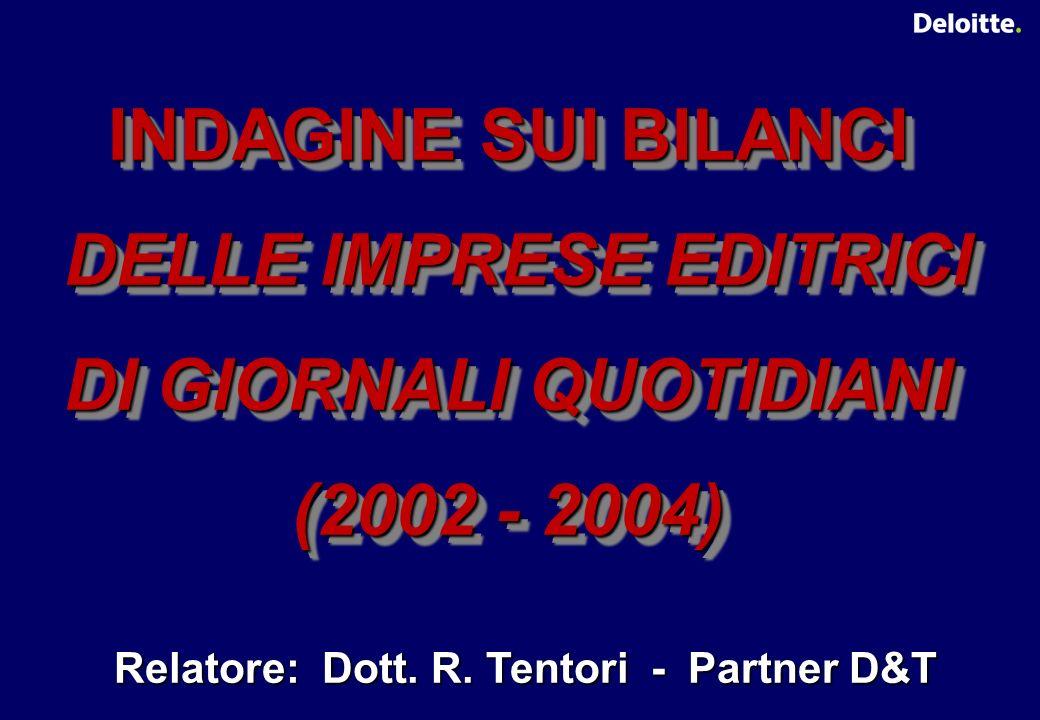 INDAGINE SUI BILANCI DELLE IMPRESE EDITRICI DELLE IMPRESE EDITRICI DI GIORNALI QUOTIDIANI (2002 - 2004) INDAGINE SUI BILANCI DELLE IMPRESE EDITRICI DELLE IMPRESE EDITRICI DI GIORNALI QUOTIDIANI (2002 - 2004) Relatore: Dott.