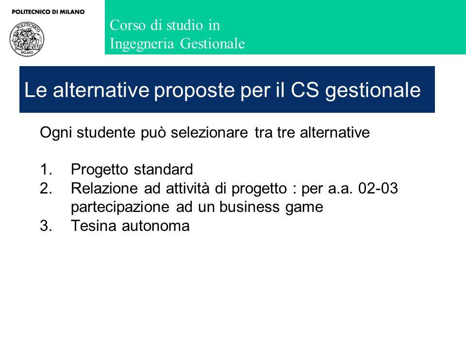 Corso di studio in Ingegneria Gestionale Le alternative proposte per il CS gestionale Ogni studente può selezionare tra tre alternative 1.Progetto sta