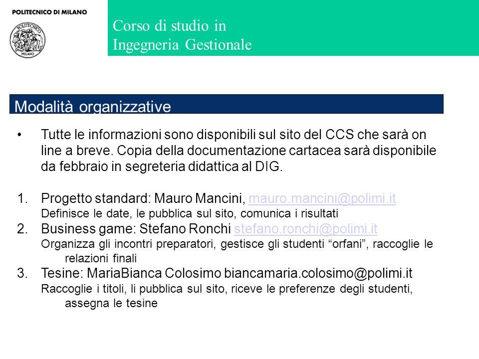 Corso di studio in Ingegneria Gestionale Tutte le informazioni sono disponibili sul sito del CCS che sarà on line a breve. Copia della documentazione
