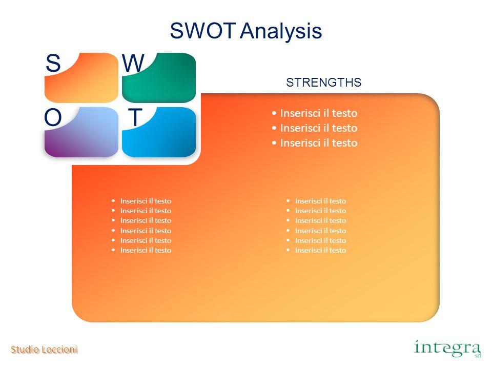 Studio Loccioni SWOT Analysis SW OT Inserisci il testo STRENGTHS