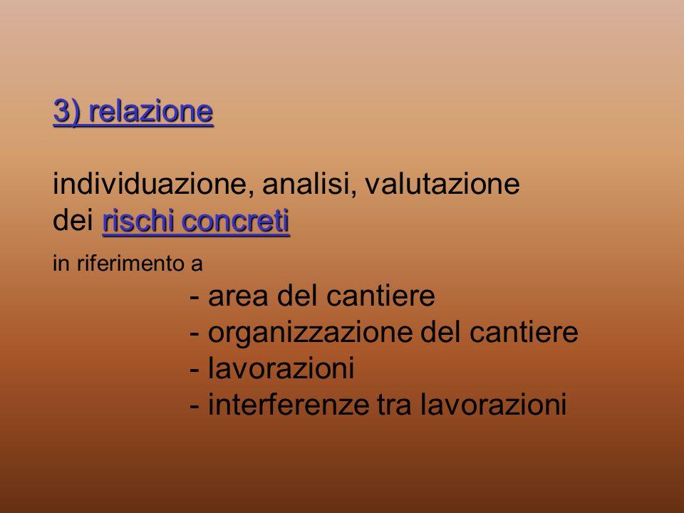 3) relazione rischi concreti 3) relazione individuazione, analisi, valutazione dei rischi concreti in riferimento a - area del cantiere - organizzazio