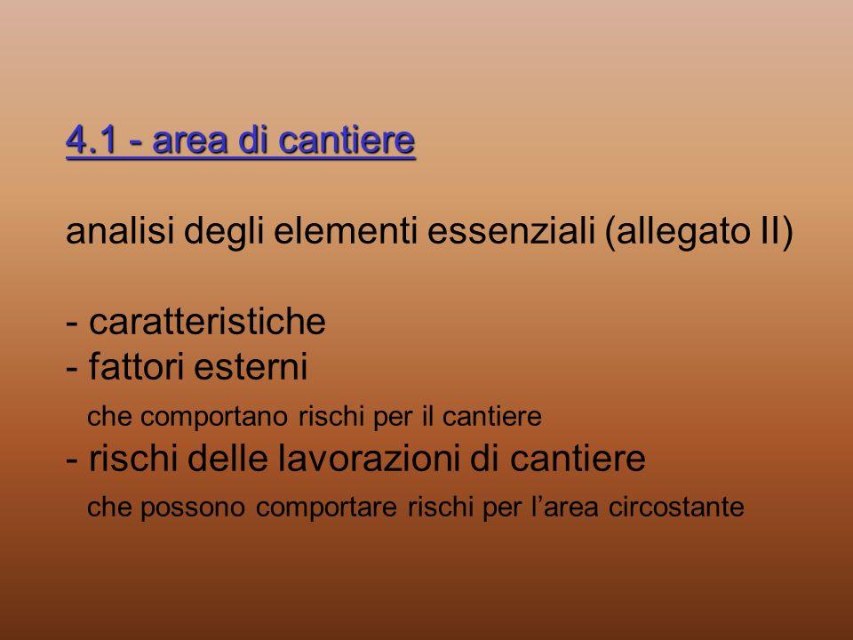 4.1 - area di cantiere 4.1 - area di cantiere analisi degli elementi essenziali (allegato II) - caratteristiche - fattori esterni che comportano risch
