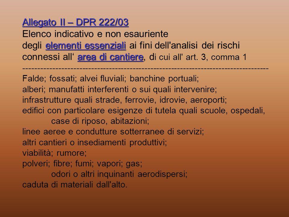 Allegato II – DPR 222/03 elementi essenziali area di cantiere Allegato II – DPR 222/03 Elenco indicativo e non esauriente degli elementi essenziali ai
