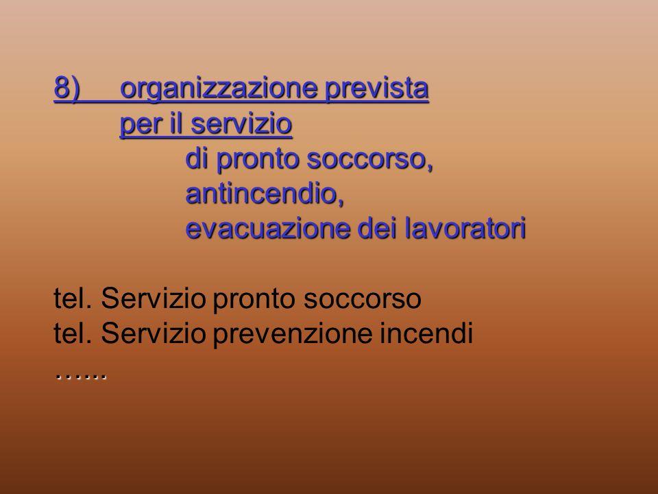 8) organizzazione prevista per il servizio di pronto soccorso, antincendio, evacuazione dei lavoratori …... 8) organizzazione prevista per il servizio