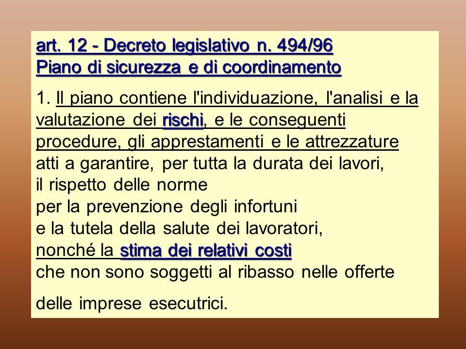 art. 12 - Decreto legislativo n. 494/96 Piano di sicurezza e di coordinamento rischi stima dei relativi costi art. 12 - Decreto legislativo n. 494/96