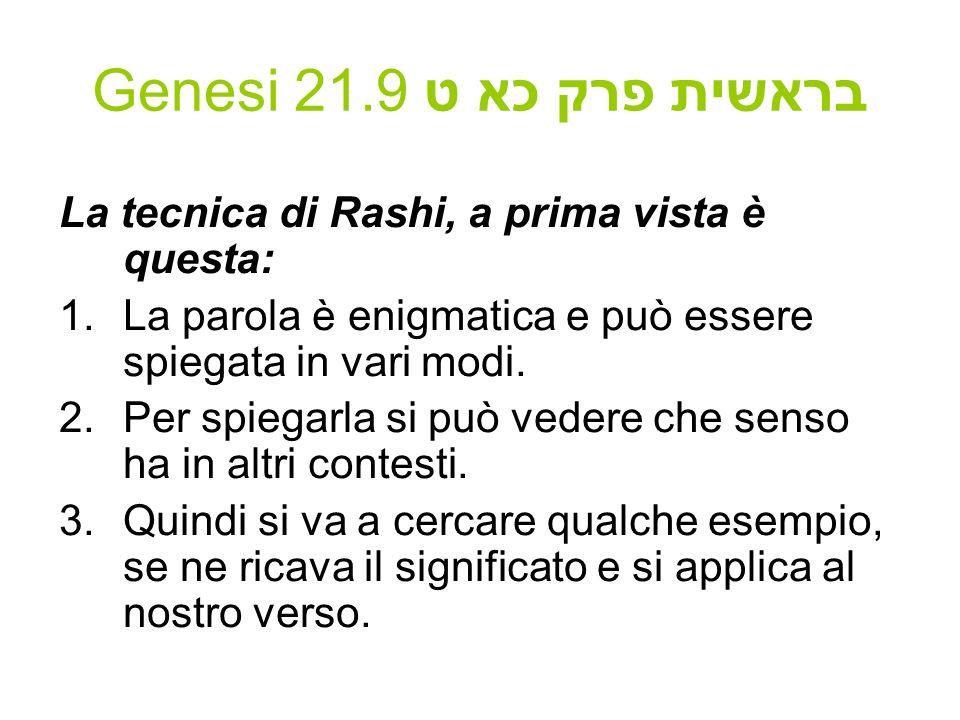 Genesi 21.9 בראשית פרק כא ט La tecnica di Rashi, a prima vista è questa: 1.La parola è enigmatica e può essere spiegata in vari modi. 2.Per spiegarla