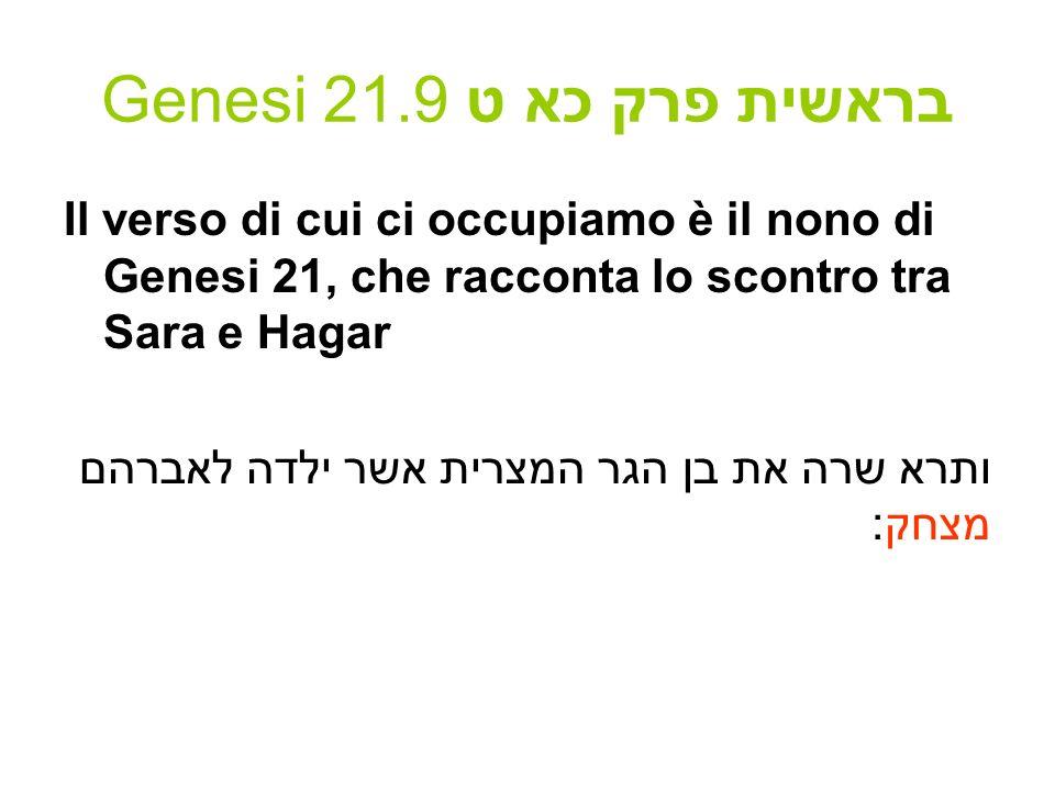 Genesi 21.9 בראשית פרק כא ט La tecnica di Rashi, a prima vista è questa: 1.La parola è enigmatica e può essere spiegata in vari modi.