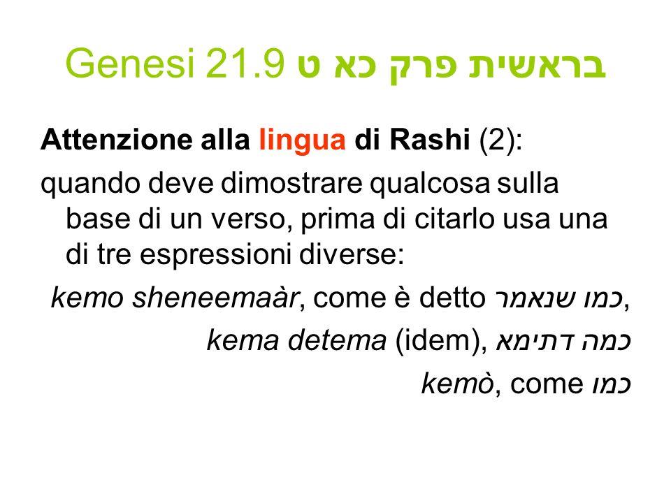 Genesi 21.9 בראשית פרק כא ט Attenzione alla lingua di Rashi (2): quando deve dimostrare qualcosa sulla base di un verso, prima di citarlo usa una di t