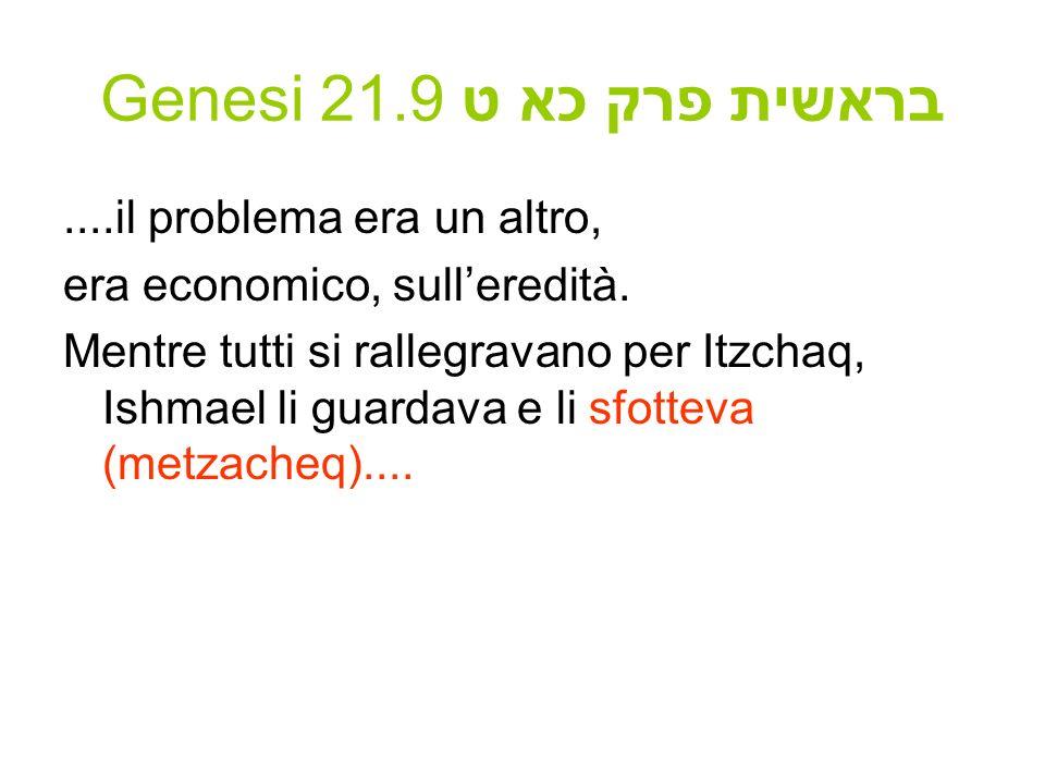 Genesi 21.9 בראשית פרק כא ט....il problema era un altro, era economico, sulleredità. Mentre tutti si rallegravano per Itzchaq, Ishmael li guardava e l