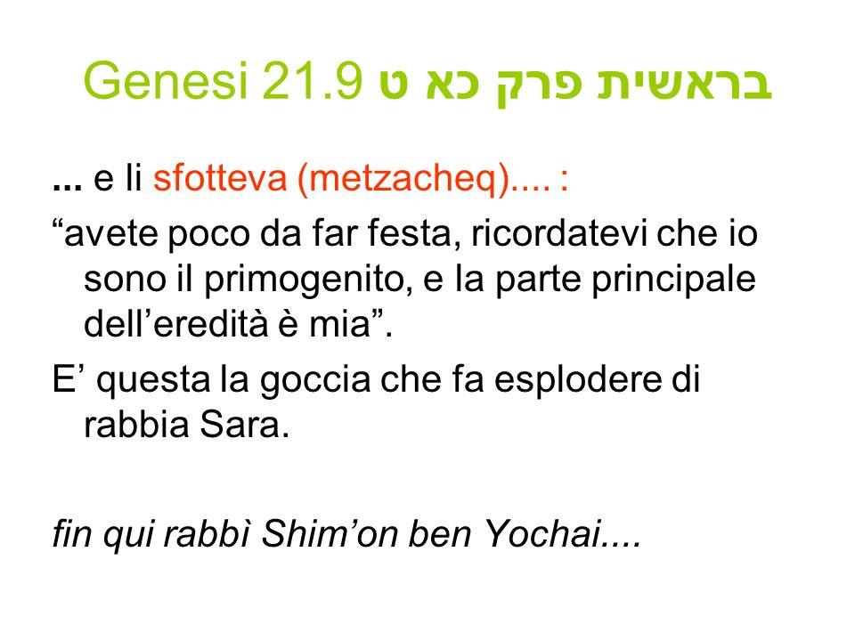 Genesi 21.9 בראשית פרק כא ט... e li sfotteva (metzacheq).... : avete poco da far festa, ricordatevi che io sono il primogenito, e la parte principale