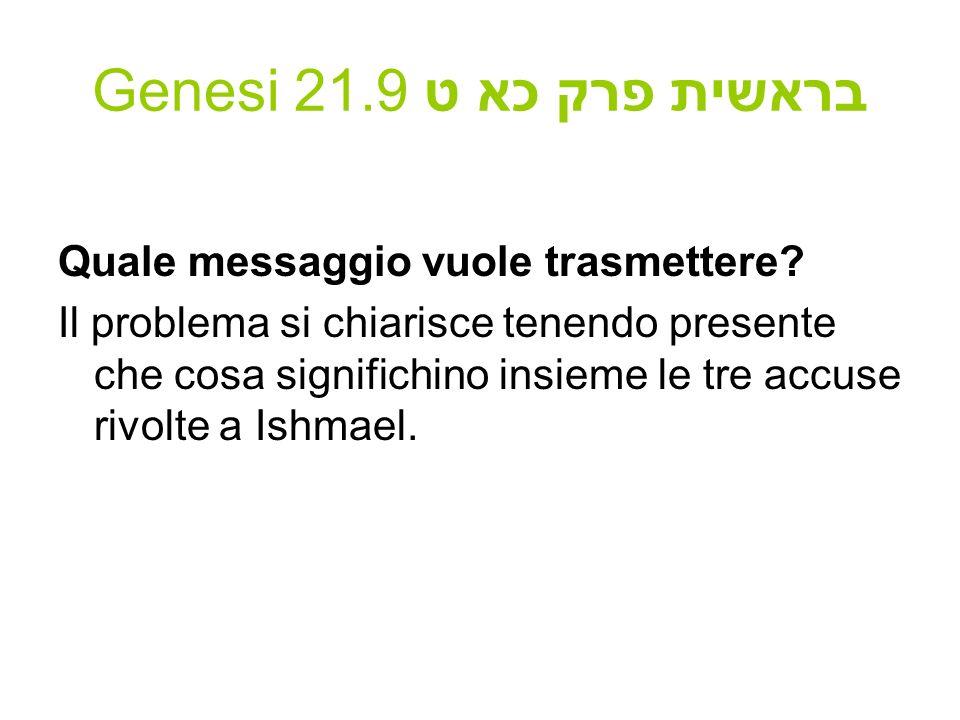 Genesi 21.9 בראשית פרק כא ט Quale messaggio vuole trasmettere.