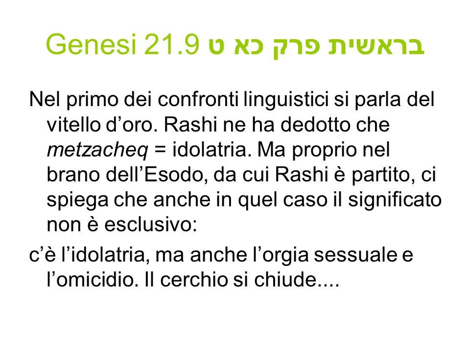 Genesi 21.9 בראשית פרק כא ט Nel primo dei confronti linguistici si parla del vitello doro. Rashi ne ha dedotto che metzacheq = idolatria. Ma proprio n
