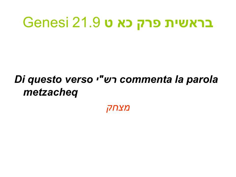 Genesi 21.9 בראשית פרק כא ט Di questo verso רש י commenta la parola metzacheq מצחק