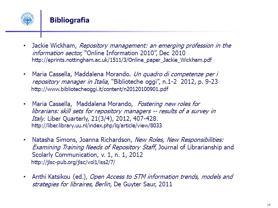 14 Bibliografia Jackie Wickham, Repository management: an emerging profession in the information sector, Online Information 2010, Dec 2010 http://epri