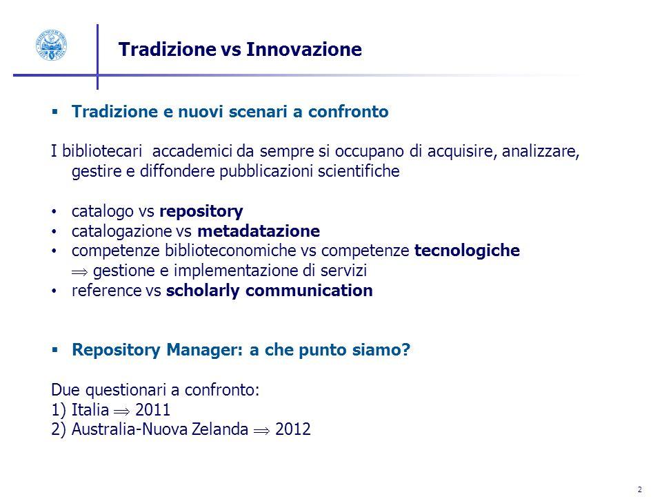 2 Tradizione vs Innovazione Tradizione e nuovi scenari a confronto I bibliotecari accademici da sempre si occupano di acquisire, analizzare, gestire e