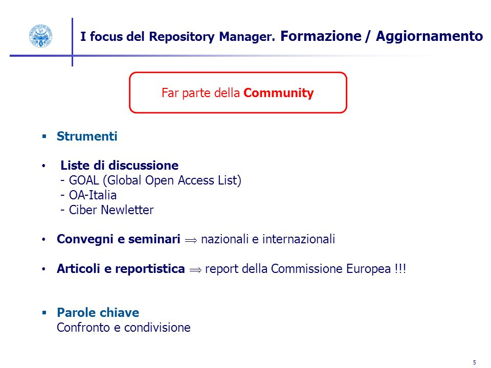 5 I focus del Repository Manager.