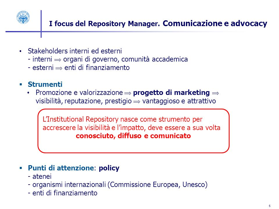 7 I focus del Repository manager.