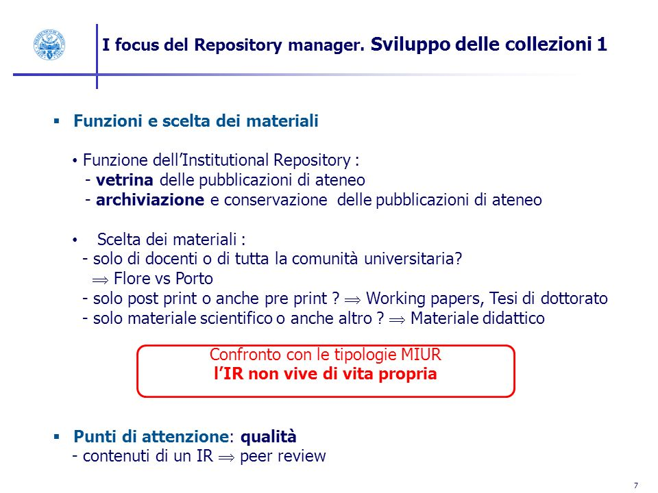 8 I focus del Repository Manager.