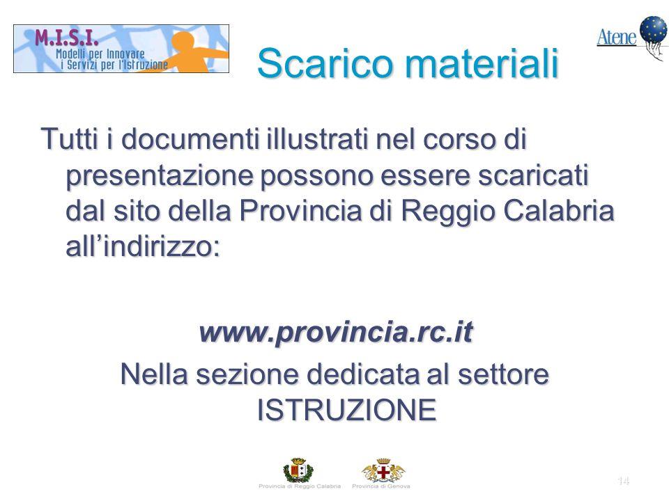 14 Tutti i documenti illustrati nel corso di presentazione possono essere scaricati dal sito della Provincia di Reggio Calabria allindirizzo: www.provincia.rc.it Nella sezione dedicata al settore ISTRUZIONE Scarico materiali