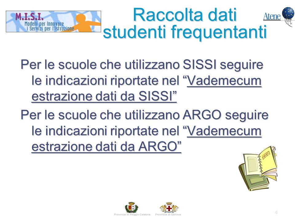4 Per le scuole che utilizzano SISSI seguire le indicazioni riportate nel Vademecum estrazione dati da SISSI Per le scuole che utilizzano ARGO seguire le indicazioni riportate nel Vademecum estrazione dati da ARGO Raccolta dati studenti frequentanti