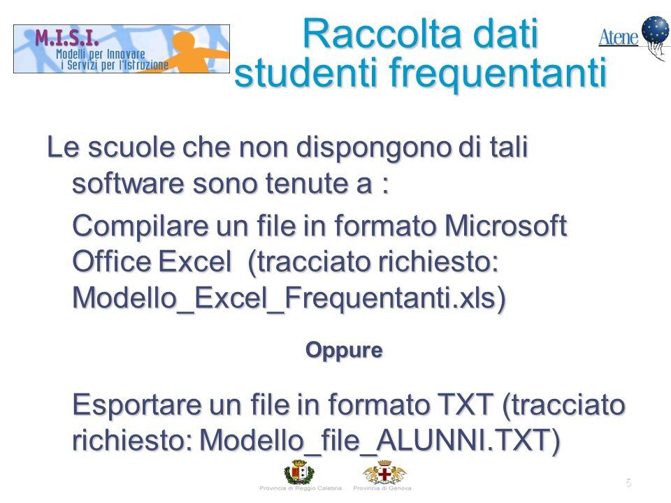 5 Le scuole che non dispongono di tali software sono tenute a : Compilare un file in formato Microsoft Office Excel (tracciato richiesto: Modello_Excel_Frequentanti.xls) Oppure Esportare un file in formato TXT (tracciato richiesto: Modello_file_ALUNNI.TXT) Raccolta dati studenti frequentanti