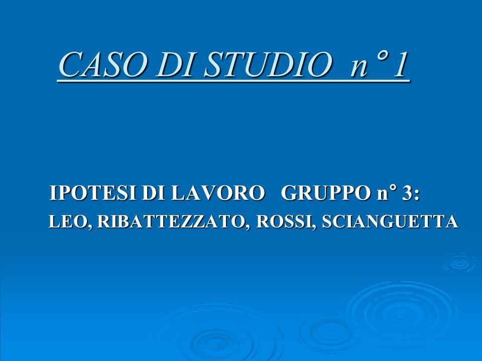 CASO DI STUDIO n° 1 IPOTESI DI LAVORO GRUPPO n° 3: LEO, RIBATTEZZATO, ROSSI, SCIANGUETTA LEO, RIBATTEZZATO, ROSSI, SCIANGUETTA