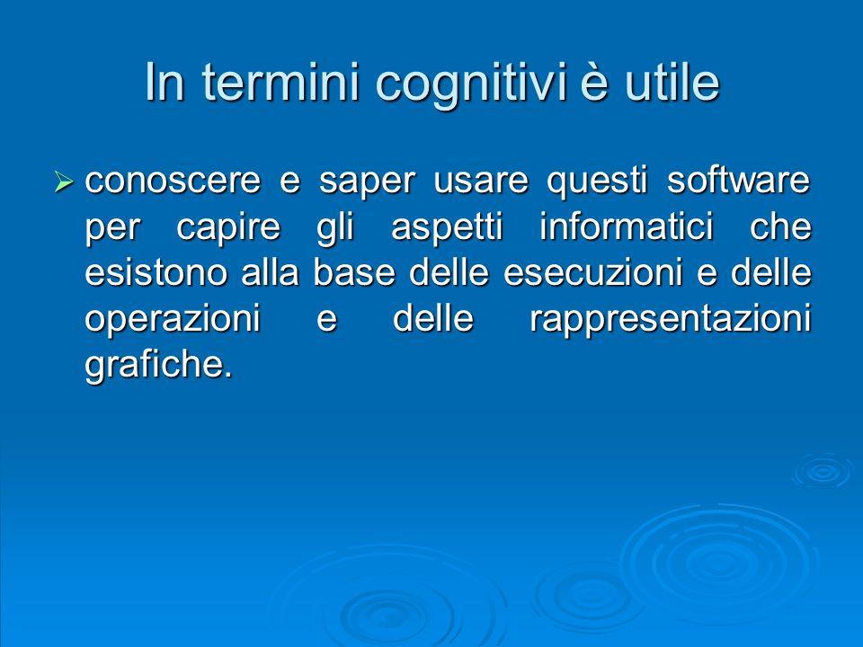 In termini cognitivi è utile conoscere e saper usare questi software per capire gli aspetti informatici che esistono alla base delle esecuzioni e dell