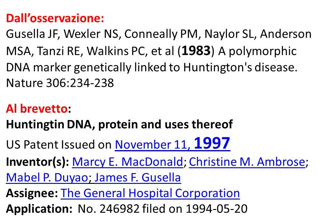 Dallosservazione: Gusella JF, Wexler NS, Conneally PM, Naylor SL, Anderson MSA, Tanzi RE, Walkins PC, et al ( 1983 ) A polymorphic DNA marker genetically linked to Huntington s disease.