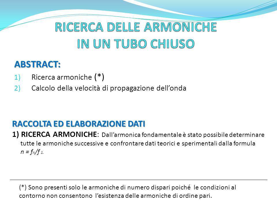 ABSTRACT: 1) Ricerca armoniche (*) 2) Calcolo della velocità di propagazione dellonda RACCOLTA ED ELABORAZIONE DATI 1) RICERCA ARMONICHE: Dallarmonica